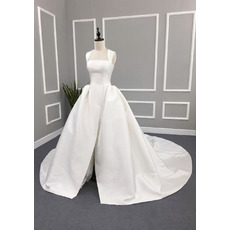 Simple Ball Gown Square Neck Satin Wedding Dresses with Split Front and Keyhole Back