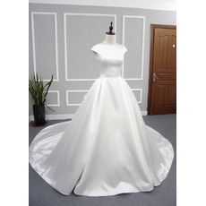 Inexpensive Ball Gown Cap Sleeves Cathedral Train Satin Wedding Dresses