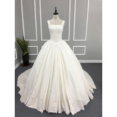 Princess Ball Gown Square Neck Court Train Satin Wedding Dresses with Appliques