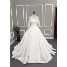Beaded Ball Gown Illusion Back Satin Wedding Dresses with 3/4 Long Sleeves