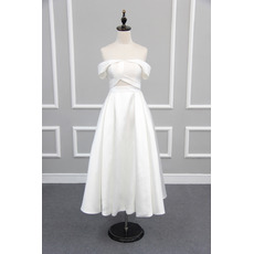 Affordable Off-the-shoulder Tea Length Satin Reception Wedding Dresses