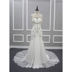 Custom Sweetheart Chapel Train Chiffon Wedding Dresses with Beads
