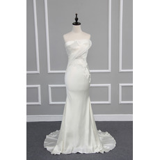 Chic Sheath Strapless Sleeveless Elastic Woven Satin Wedding Dresses with Appliques