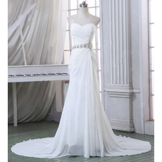 2018 Discount Attractive Sheath Sweetheart Court Train Pleated Chiffon Beach Wedding Dresses with orgeous Crystal Beading Waist