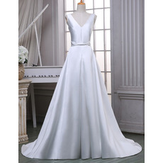 Custom Simple A-Line Double V-Neck Sleeveless Satin Wedding Dresses