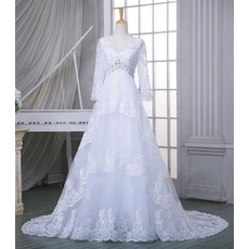 Affordable V-Neck Court Train Tulle Wedding Dresses with Long Sleeves