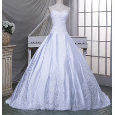 Luxurious Beading Appliques Ball Gown Sweetheart Satin Wedding Dresses