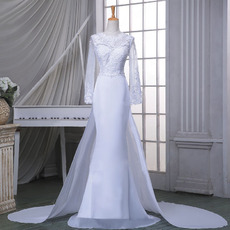 Sheath Chapel Train Wedding Dresses with Long Sleeves