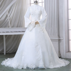 Custom High-Neck Satin Winter Wedding Dresses with Long Sleeves