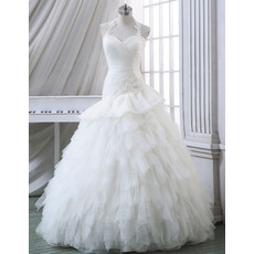 Discount Sheath Halter Sweetheart Tulle Bubble Skirt Wedding Dresses
