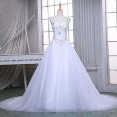 Elegant A-Line V-Neck Sleeveless Chapel Train Satin Wedding Dresses