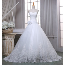 2017 New Ball Gown Sweetheart Sweep Train Organza Wedding Dresses