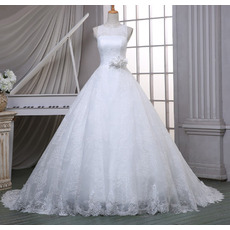 Graceful Ball Gown Illusion Neckline Court Train Lace Wedding Dresses
