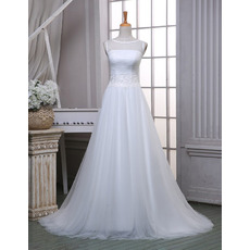 Elegant A-Line Bateau Sleeveless Sweep Train Organza Wedding Dresses