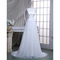 Elegant A-Line Illusion Neckline Sleeveless Tulle Wedding Dresses with Appliques Waist