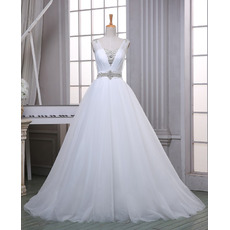 Custom A-Line Sweetheart Sleeveless Sweep Train Organza Wedding Dress