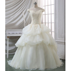 Gorgeous Beading Appliques Ball Gown Off-the-shoulder Organza Wedding Dress with Pick-up Skirt