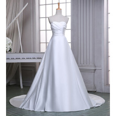 Simple A-Line Sweetheart Sleeveless Chapel Train Satin Wedding Dresses