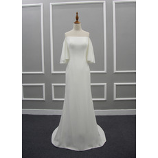 Strapless Sweep Train Satin Wedding Dresses with Short Sleeves