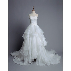 Inepxensive Sweetheart Sweep Train Organza Layered Skirt Wedding Dress