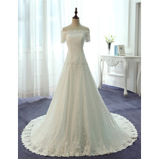 Elegant Off-the-shoulder Lace Wedding Dresses with Short Sleeves