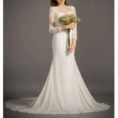 Feminine Beaded Mesh V Neckline Chiffon Wedding Dresses with Long Tulle Sleeves