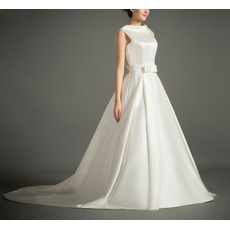 Affordable Lapel Sleeveless Court Train Satin V-Back Wedding Dresses