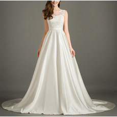 Elegant Sleeveless Sweep Train Satin Applique Bodice Wedding Dresses