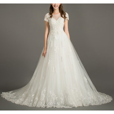 Feminine Illusion Sweetheart Neckline Tulle Wedding Dresses with Short Sleeves