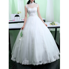 Custom Ball Gown Mandarin Collar Floor Length Organza Wedding Dresses