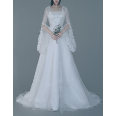 2017 Style Strapless Sweep Train Wedding Dresses with Lace Sleeves