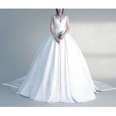 Sexy Ball Gown V-Neck Sleeveless Court Train Satin Wedding Dresses