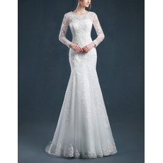 Sexy Mermaid Sweep Train Appliques Tulle Wedding Dresses with Long Sleeves