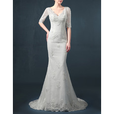 Affordable Sheath V-Neck Organza Wedding Dresses with Half Sleeves