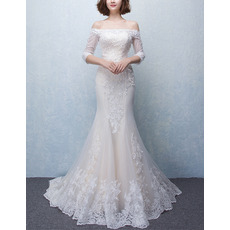 2017 Trumpet Off-the-shoulder Wedding Dresses with 3/4 Long Sleeves
