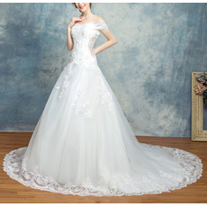 Discount Off-the-shoulder Chapel Train Organza Wedding Dresses
