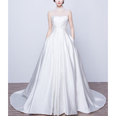 Elegant Beaded High-Neck Sleeveless Satin Wedding Dresses with Pockets and Keyhole