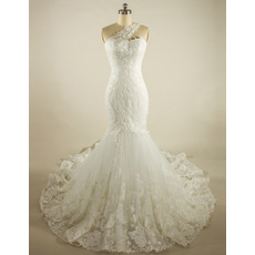 Affordable Mermaid One Shoulder Chapel Train Lace Wedding Dresses
