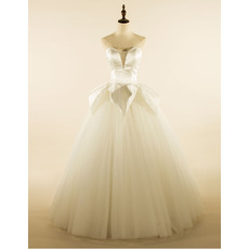 Chic Satin Bodice Wedding Dresses with Ball Gown Tulle Skirt