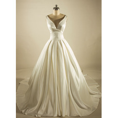Simple Ball Gown Deep V-Neck Court Train Satin Wedding Dresses with Pleated Skirt