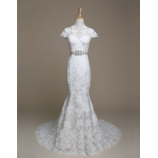 Elegant Sheath Sweep Train Lace Wedding Dresses with Cap Sleeves