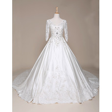 Luxury Beading Appliques Ball Gown V-Neck Satin Wedding Dresses with 3/4 Long Sleeves