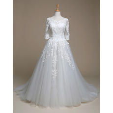 Romantic Beaded Appliques Ball Gown Tulle Wedding Dresses with 3/4 Long Sleeves