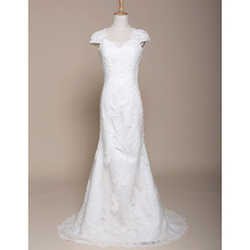 Elegant Sheath Sweep Train Satin Wedding Dresses with Cap Sleeves