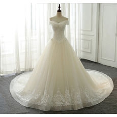 Gorgeous Floral Applique Off-the-shoulder Organza Wedding Dresses with Crystal Beaded Detail