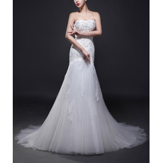 Custom Trumpet Strapless Sweep Train Satin Tulle Wedding Dresses