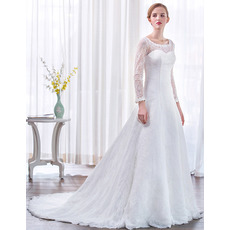 Court Train Lace Wedding Dresses with Long Lace Sleeves