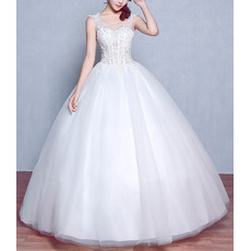 Attractive Ball Gown Tulle Wedding Dresses with Appliques Beaded Illusion Bodice