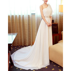 Glamorous One Shoulder Court Train Chiffon Wedding Dresses with Asymmetric Flutter Sleeve