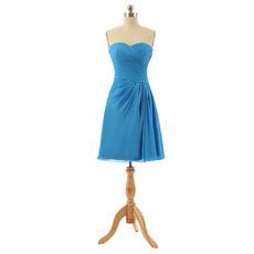 Sexy Sweetheart Knee Length Chiffon Pleated Bridesmaid Dresses